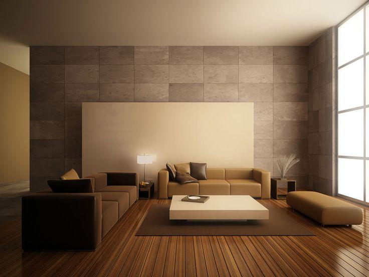 Interior Ruang Tamu Minimalis Modern Warna Cokelat Natural