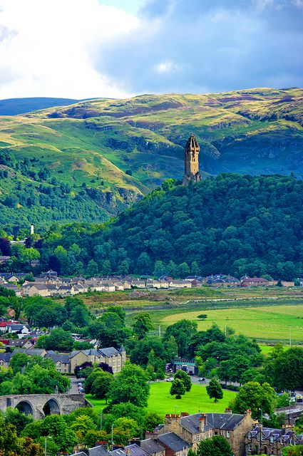 The National Wallace Monument rising above Stirling, Scotland, UK (by paspog).....Magnificent landscape!
