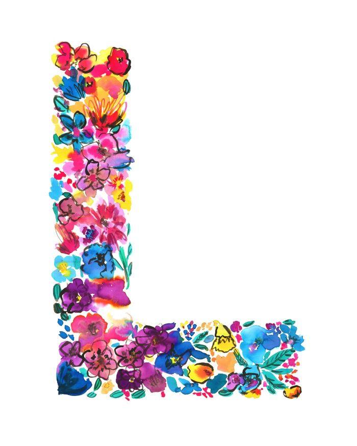 L Letter Floral Art Print Products Floral Prints And Floral