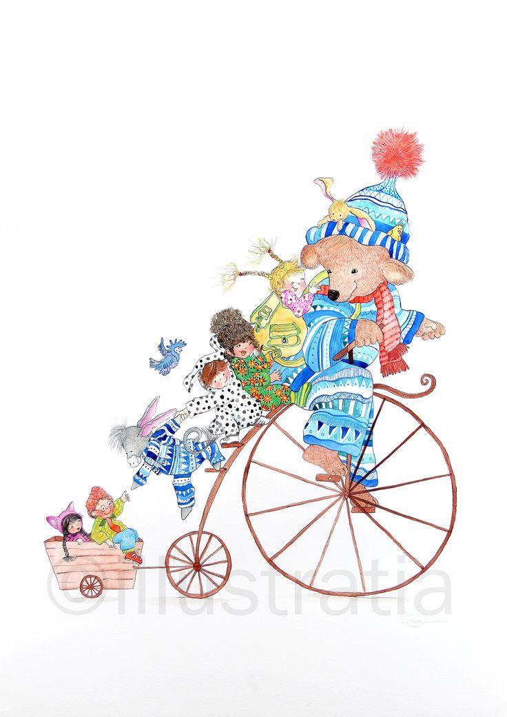 'bikebear'. Een opdracht voor kindertekenles ..gaf me zelf ook inspiratie om deze illustratie te maken...super leuk om zelf ook mee aan de slag te gaan!