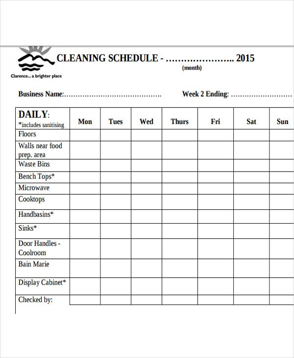 13+ Restaurant Cleaning Schedule Templates- 6+ Free Word, PDF Format