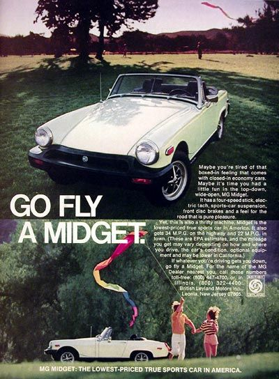 1977 MG Midget Convertible Roadster original vintage advertisement. The lowest priced sports car in America with four speed stick, electric tach, front disc brakes and race car suspension. From British Leyland.