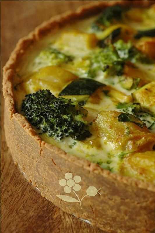 Tarte légumes-lait de coco-curry, pâte farine de soja, sans gluten
