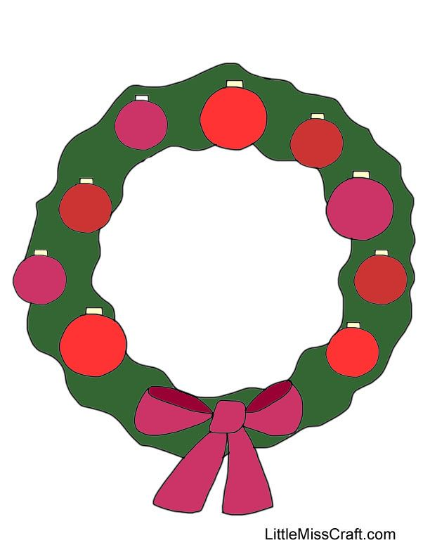 Color This Festive Christmas Ornament Wreath Ready To Print At Littlemisscraft