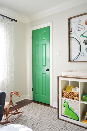 Love the bright door inside a room, which you don't see very often.Interiors Doors, Green Doors, Closets Doors, Art Updates, Boys Nurseries, Painting Doors, Irish Moss, Benjamin Moore, Boys Room
