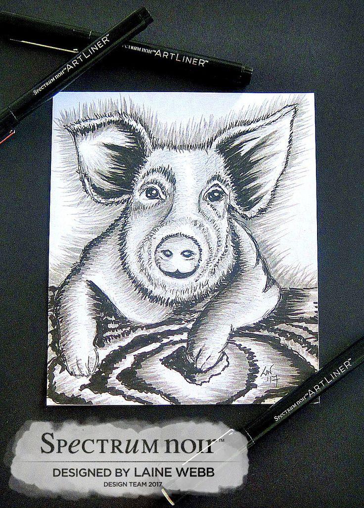 Spectrum Noir ArtLIner pens freehand sketch in black and grey by Laine Webb. For #inktober2017 #spectrumnoir #handmadecard #crafterscompanion