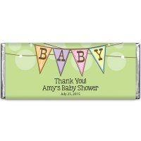 Our personalized baby shower Hershey's chocolate bars take the traditional 1.55 oz Hershey's chocolate bar and wrap it up in an adorable personalized wrapper for a wonderful party favor. Make the baby shower extra special for mommy-to-be and all her guests with these fun and unique baby shower favors.