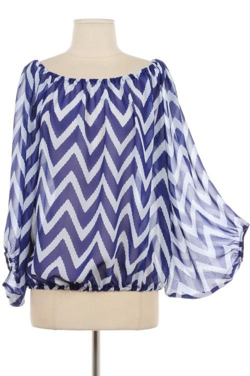 This is a cute Royal Blue Chevron Top. Sale $34 Sizes: S,M,L Shop online www.aliandcoboutique.com