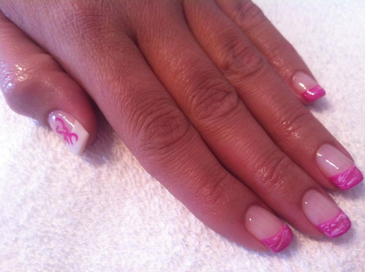 Pink & white marble nails with Browning decal #sittingpretty
