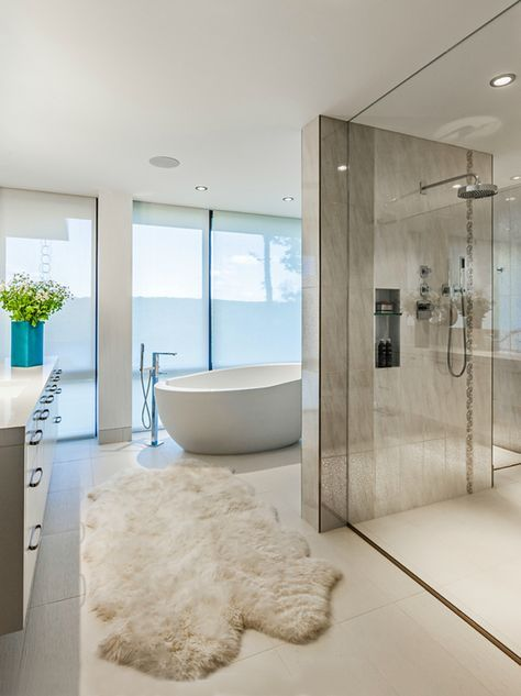 modern contemporary bathroom inspiration - standalone tub and glass shower