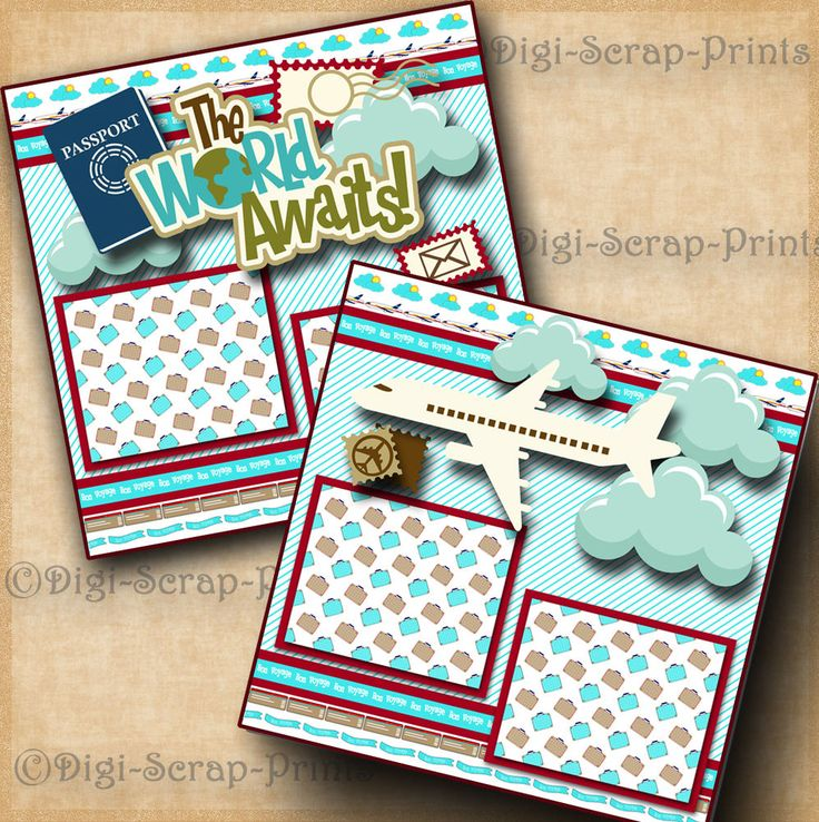 VACATION 2 premade scrapbook pages paper piecing TRAVEL layout 4 album DIGISCRAP #DigiScrapPrints