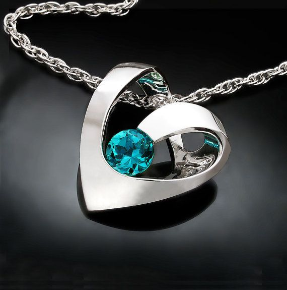 heart necklace - blue topaz pendant - December birthstone - turquoise blue topaz - modern jewelry - 3401