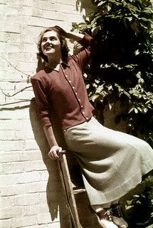 A cute casual wear look from 1938 (completely with classic brown and white saddle shoes). #vintage #fashion #1930s
