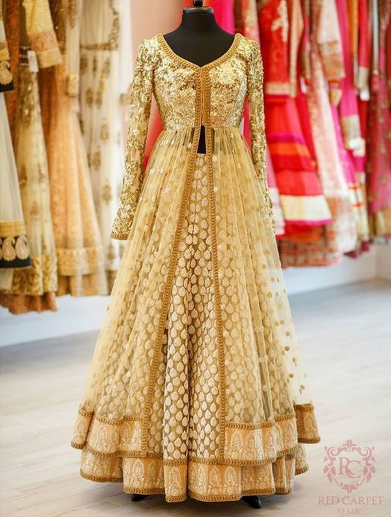 Just look at how stunning this brown gold beige anarkali lehenga looks. Perfect for the sister of the bride. #frugal2fab