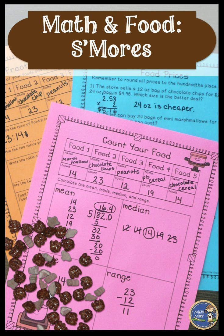 Engage your kids in math with a food treat and some math problems. Use a s'mores food mix with these 5 pages of activities. Skills included: mean, mode, median, range; area, surface area of rectangular prism, circumference; word problems (add prices, find change, figure the best buy, cost per item/ounce); write ratios and check for proportions; four operations with fractions; and solve algebraic expressions. The activities can be completed individually, in pairs, or in small groups. $ gr 5-8