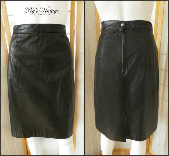 Black Leather Hipster Skirt/High Waisted Shirt by PegsVintageShop