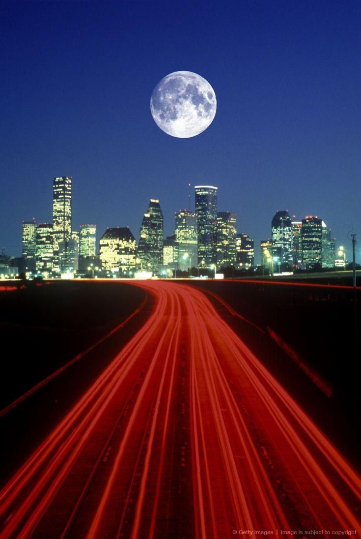 Moon over downtown Houston, TX