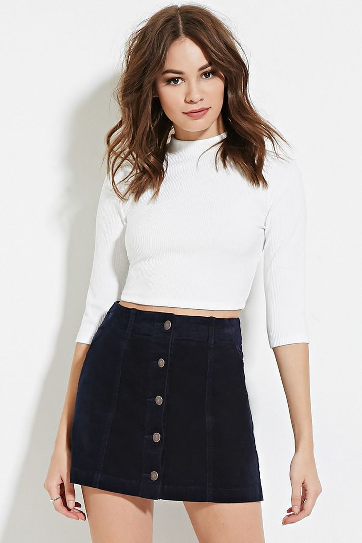 Corduroy Buttoned Skirt - Best Sellers - 2000182243 - Forever 21 EU English