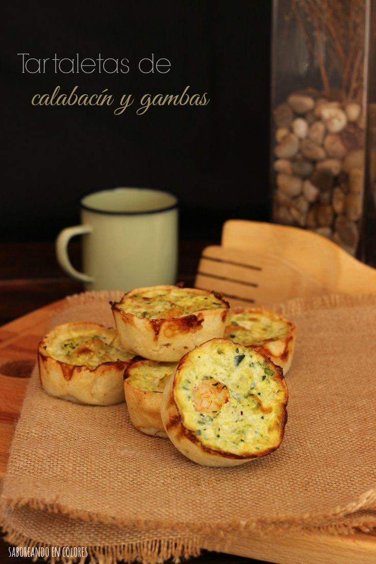 Tartaletas (o quiche) de calabacín y gambas (o jamón, o baicon...)