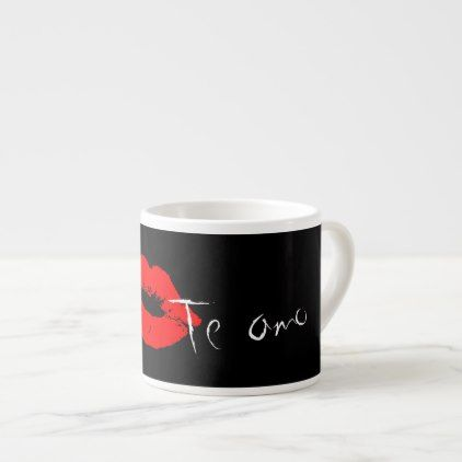 Love you in Spanish Te Amo Lips Kiss Coffee Mug - red gifts color style cyo diy personalize unique