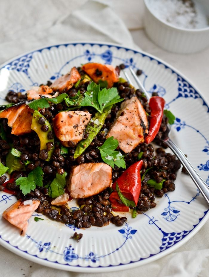 Puy Lentil Salad with Honey-Ginger Marinated Salmon