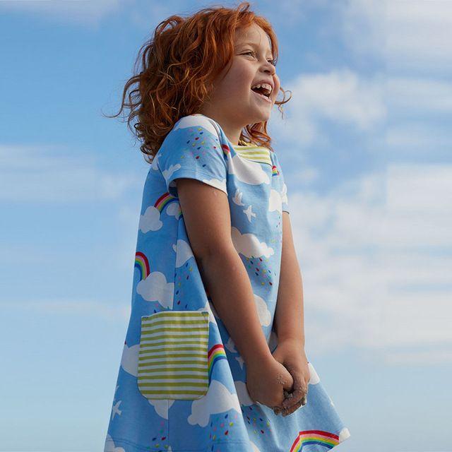 Bebé Niña Vestidos De Verano Enfant Bata Princesa Trajes de Vestir para Niños Ropa de Impresión 100% Algodón de Las Muchachas Del Arco Iris Jersey Ropa
