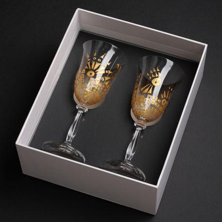 Artystyczne kieliszki ręcznie malowane w pudełku prezentowym