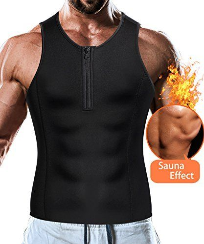 d7263de5253e8 Men Weight Loss Tank Top Shirt Sauna Vest Slim Body Shaper Muscle Workout  Waist Corset Compression Tight Clothes Fitness (Sauna Tank Black