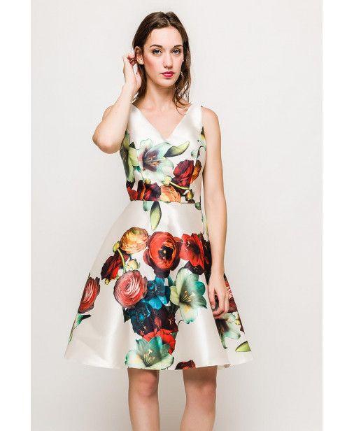 9662539a9651 Vestido estampado flores con falda campana y escote pico | vestidos ...
