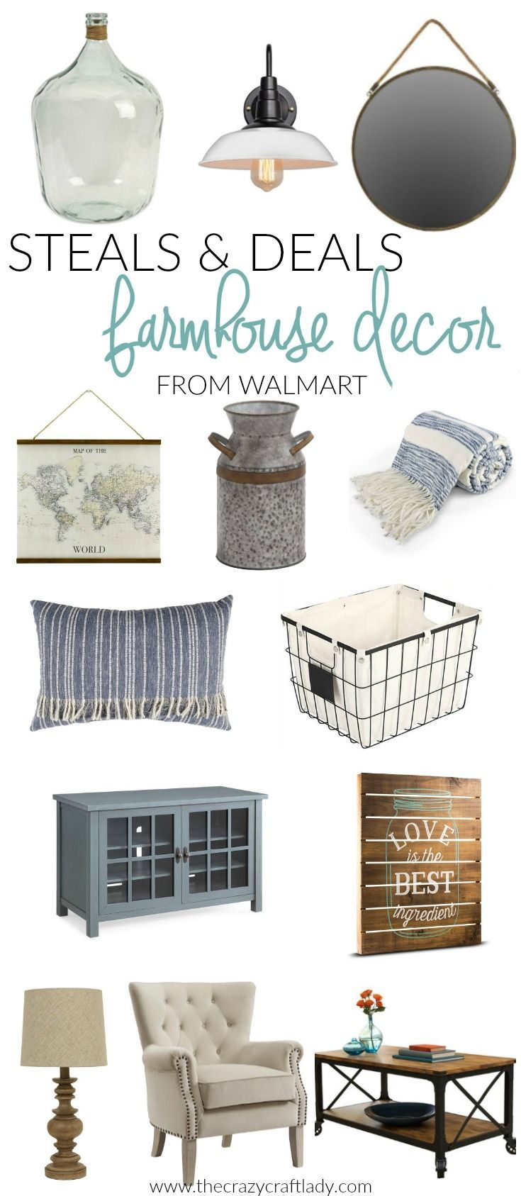 Have you shopped at Walmart for home decor lately? You should! Check out my picks for Walmart farmhouse decor, and prepare to be surprised. You will love these farmhouse style picks, from wire baskets, to lighting, to furniture, area rugs, and more.
