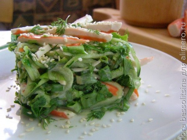 Полезный салат с брынзой и зеленью