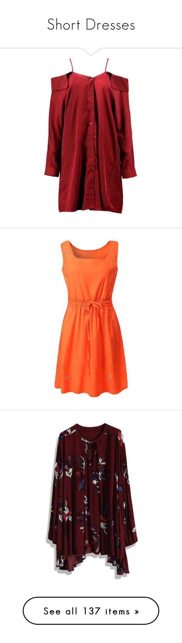 """""""Short Dresses"""" by natalialovesnutella12 ❤ liked on Polyvore featuring dresses, layering cami, body con dress, bodycon evening dresses, special occasion dresses, shirt dress, orange, vestidos, orange midi dress and red orange dress"""