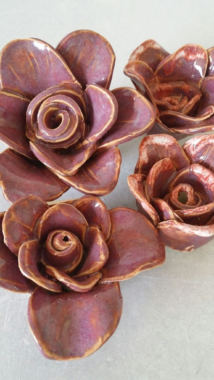 hand built flowers with chun plum glaze