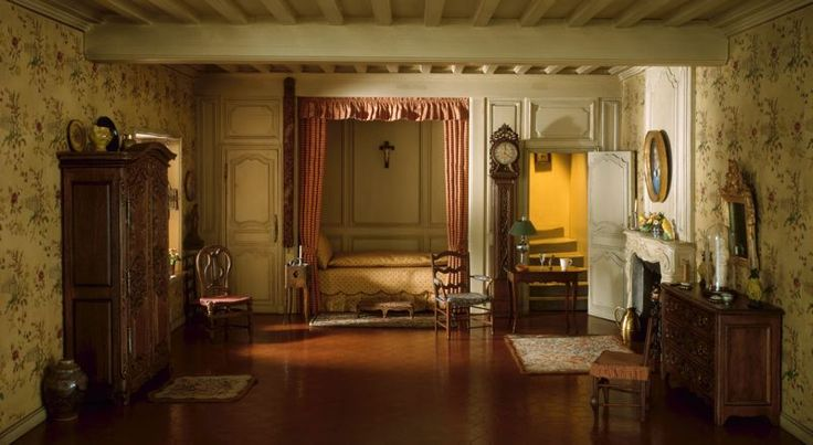 Mrs. James Ward Thorne  American, 1882-1966    E-22: French Provincial Bedroom of the Louis XV Period, 18th Century, c. 1937    Miniature room, mixed media  Interior: 11 x 19 1/2 x 17 1/2 in. (27.9 x 49.5 x 44.5 cm)  [Scale: 1 inch = 1 foot]  Gift of Mrs. James Ward Thorne, 1941.1207
