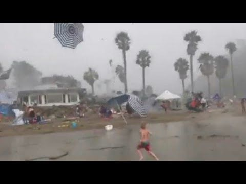 (HAARP THE HERALD ANGELS SINGING.) CRAZY WEATHER On SANTA BARBARA BEACH: SUNNY To SCARY