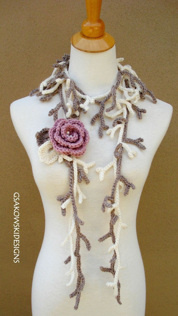 free crochet vine lariat pattern | ... Leaves with Flower Lariat and another here: Branch Lariats with Rose
