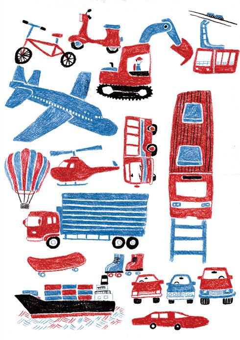 norimono Red white and blue for boy's room or study