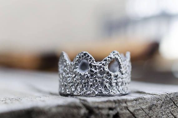 Crown Ring, Lace Jewelry, Valentine's Gift, Dainty Jewelry, Black Princess Crown Ring, Statement Ring, READY to Ship, Gift for her