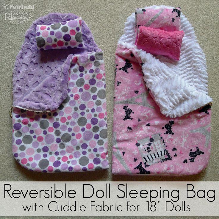 """Cuddle DIY 18"""" Doll reversible doll lsleeping bag sewing tutorial"""