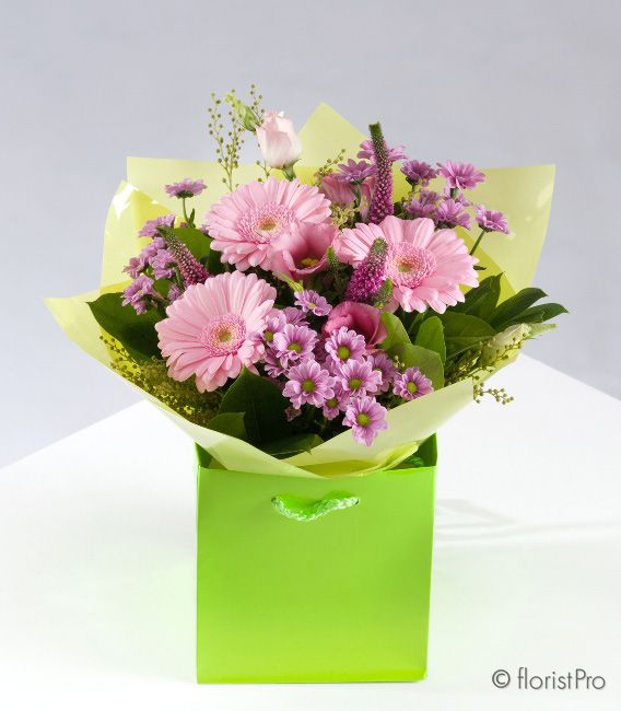 Hermione - handtied bouquet of mixed pink flowers and foliage including gerbera - The Rose House at McEwens