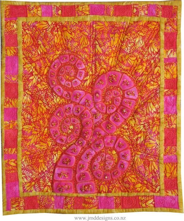 Koru Quilting Designs : Kowhai Sunset wall hanging by Janet Davies (New Zealand); koru design Beaded quilts ...