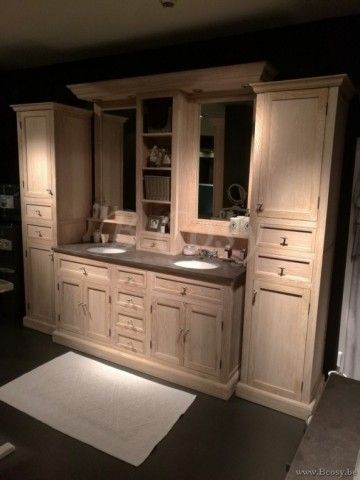 ll-bath-032w-landelijke dubbele badkamerkast met bovenbouw spiegels verlichting en arduinen wastafels wastablet in landelijke cottage stijl
