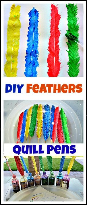 Fun art activity using an old toothbrush to create feathers. Then make quill pens to make writing and drawing more fun. #artactivities
