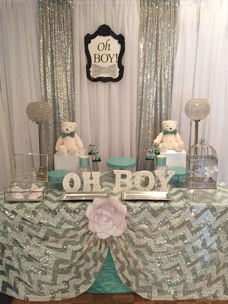 Mint and silver baby shower party ideas bow ties cloths for Baby shower decoration ideas boy