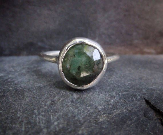 Raw Emerald Ring Natural Emerald Ring Emerald Gemstone