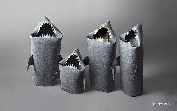 Christmas gifts SALE SHARK Felt laundry basket for by Uczarczyk