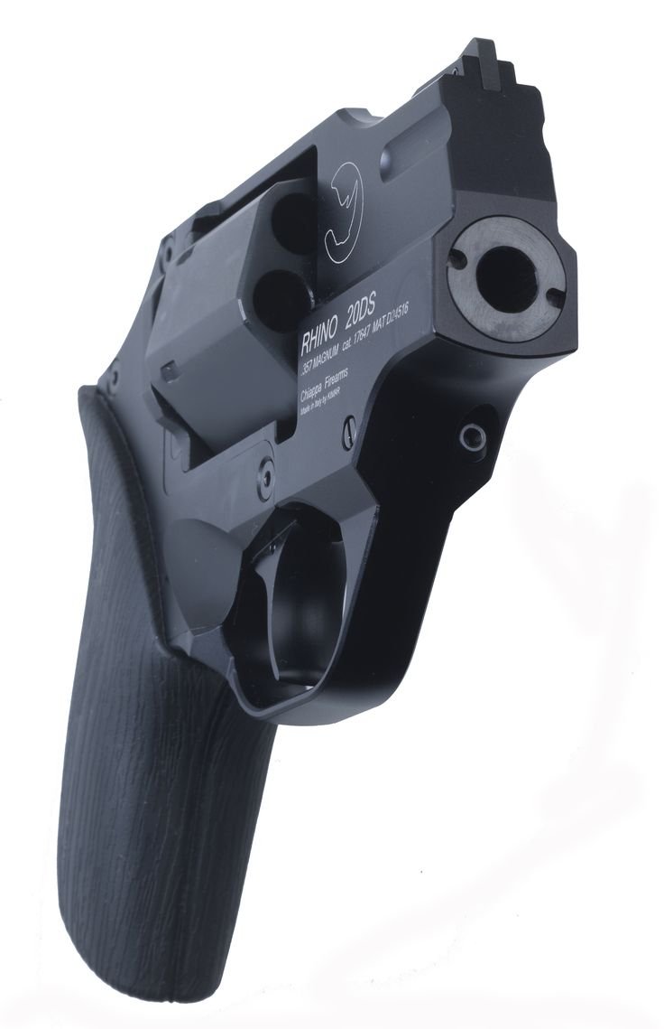 Rhino :: 20DS    This is the Rhino.  It's different from most all other revolvers in that the barrel is located at the bottom of the cylinder which helps to mitigate recoil.