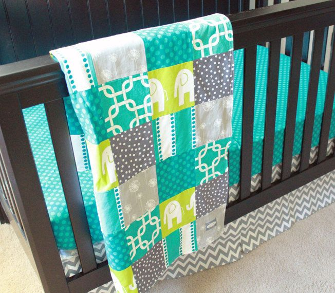 Gray and Teal Crib Bedding | Request a custom order and have something made just for you.