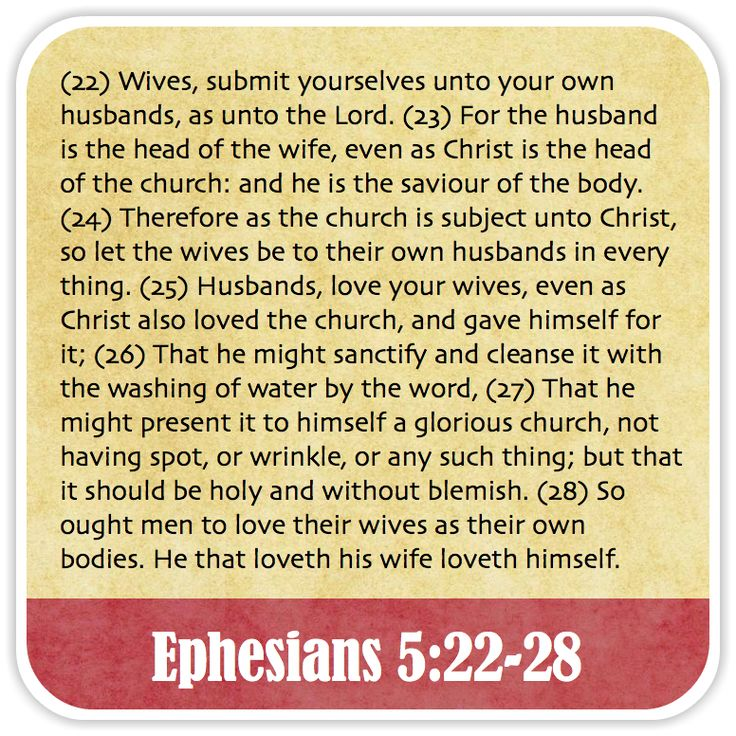 Ephesians 5:22-28 - Wives, submit yourselves unto your own husbands, as unto the Lord. For the husband is the head of the wife, even as Christ is the head of the church: and he is the saviour of the body. Therefore as the church is subject unto Christ, so let the wives be to their own husbands in every thing. Husbands, love your wives, even as Christ also loved the church, and gave himself for it; That he might sanctify and cleanse it with the washing of water by the word, That he might…