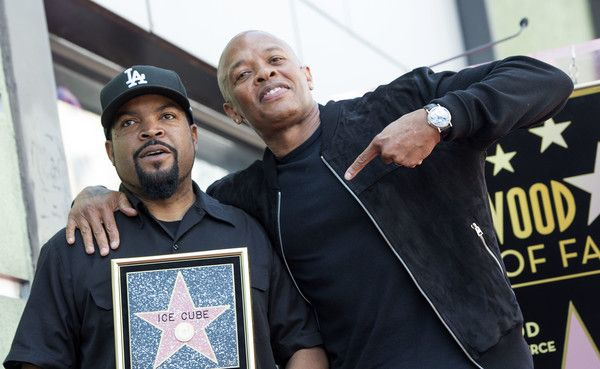 Ice Cube Photos Photos - Rappers Ice Cube (L) and Dr Dre attend Ice Cube's star unveiling ceremony on the Hollywood Walk of Fame, on June 12, 2017, in Hollywood, California. / AFP PHOTO / VALERIE MACON - Ice Cube Honored with a Star on the Hollywood Walk of Fame